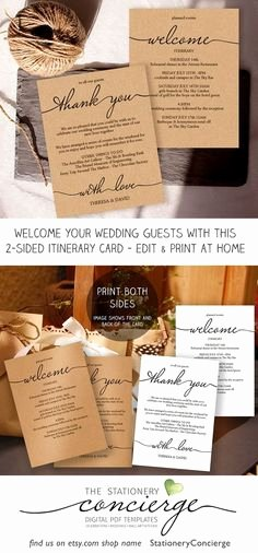 Wedding Welcome Bag Itinerary Template Best Of Wedding Itinerary Template Printable Wedding Wel E