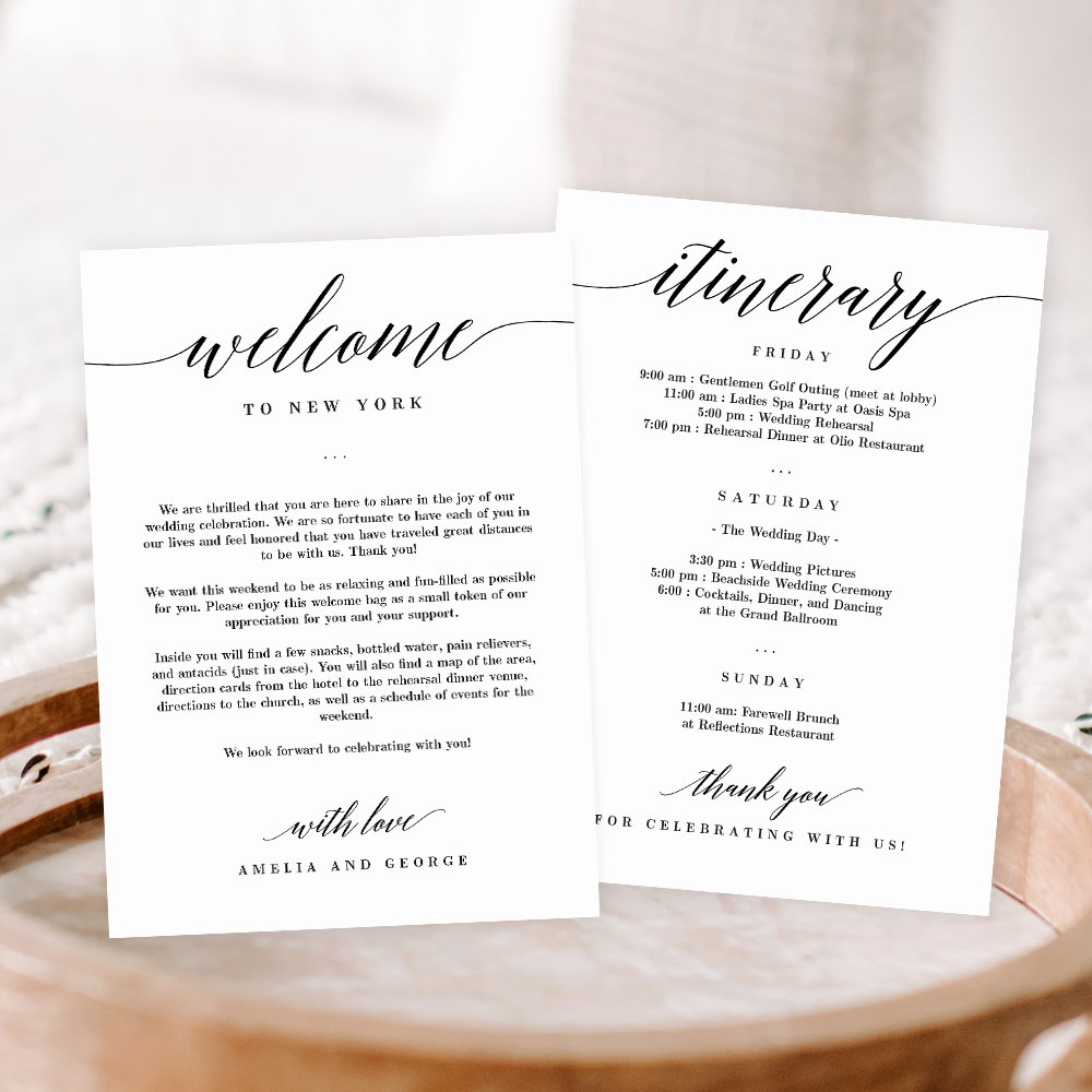 Wedding Welcome Bag Itinerary Template Best Of Wedding Wel E and Itinerary Card Msc Berry Berry Sweet