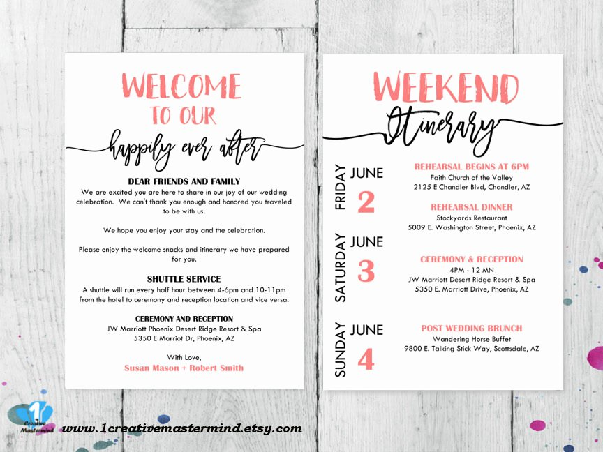 Wedding Welcome Bag Itinerary Template Elegant Diy Wedding Typography Wel E Bag Note Wel E Bag Letter