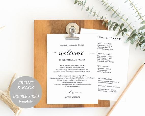 Wedding Welcome Bag Itinerary Template Elegant Wedding Itinerary Card Wel E Note Printable Wedding