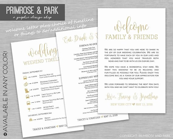 Wedding Welcome Bag Itinerary Template Elegant Wedding Wel E Letter and Itinerary or Info Things to Do