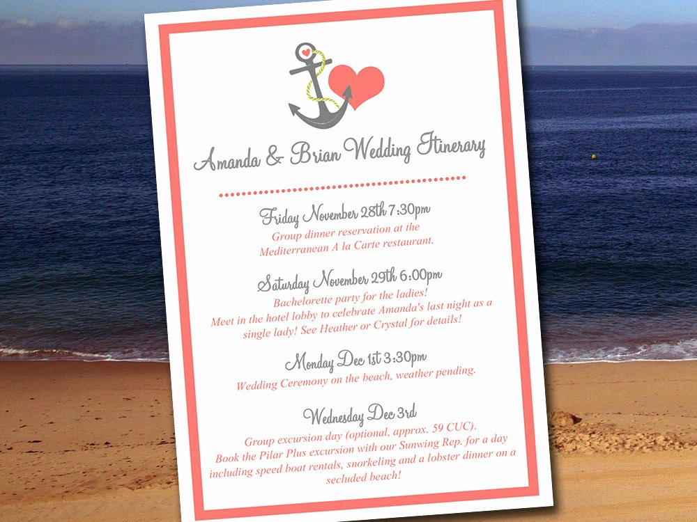 Wedding Welcome Bag Itinerary Template Fresh Destination Wedding Itinerary Template