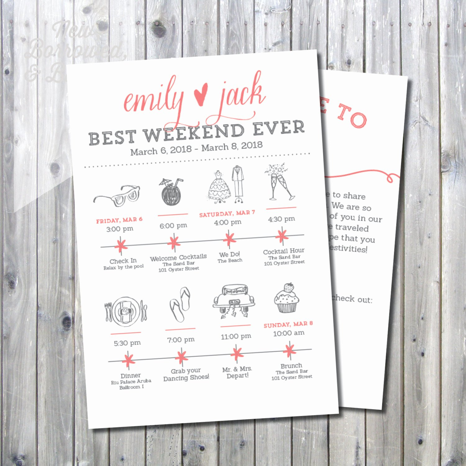 Wedding Welcome Bag Itinerary Template Fresh Printable Destination Wedding Icon Itinerary with Wel E
