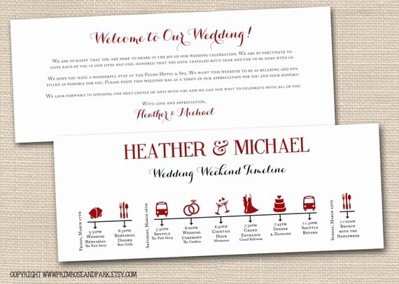 Wedding Welcome Bag Itinerary Template Lovely Wedding Weekend Timeline and Wel E Note by Primroseandpark