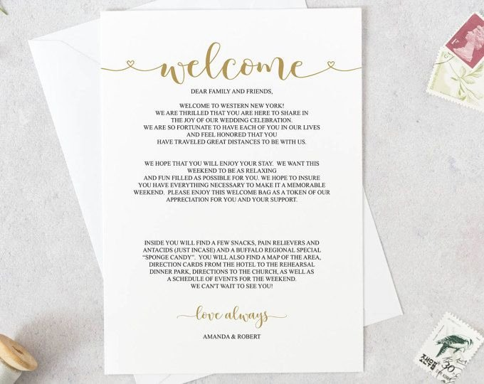 Wedding Welcome Bag Itinerary Template Lovely Wedding Wel E Letter Template Wedding Itinerary