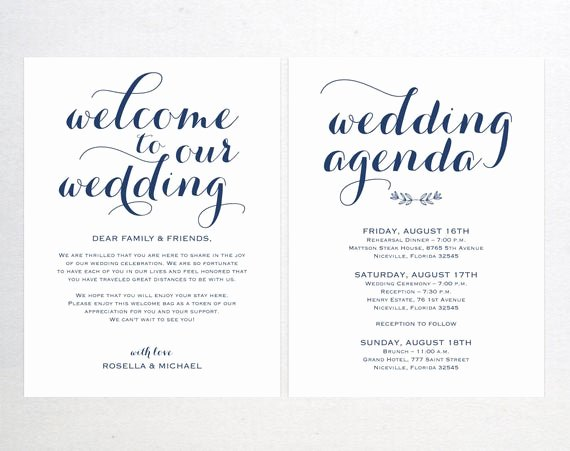 Wedding Welcome Bag Itinerary Template Luxury Navy Blue Wedding Wel E Bag Note Wel E Bag Letter