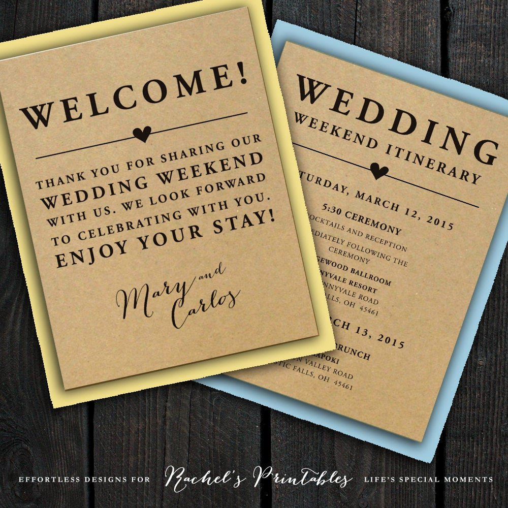 Wedding Welcome Bag Itinerary Template New Wedding Wel E Note Itinerary Double Sided by