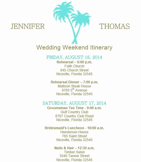 Wedding Welcome Bag Itinerary Template Unique Beach theme Wedding Itinerary Template Download On