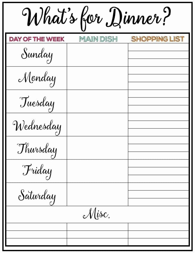 Weekly Family Planner Template Awesome Weekly Meal Planner Week 7