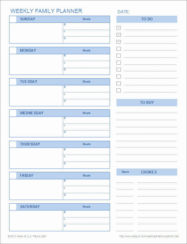 Weekly Family Planner Template Beautiful Printable Family Planner Templates for Excel