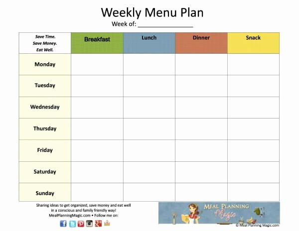 Weekly Family Planner Template Fresh Free Weekly Menu Plan Grid Printable