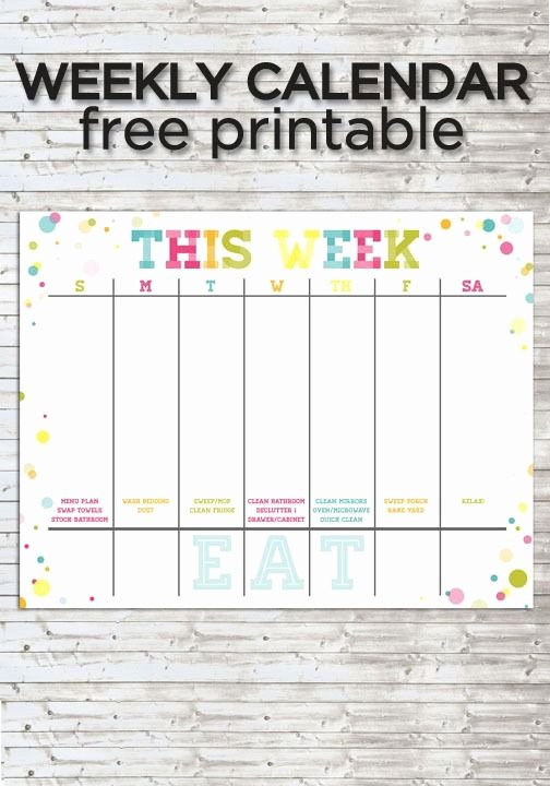 Weekly Family Planner Template Luxury Colorful Weekly Calendar Free Printable