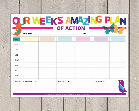 Weekly Family Planner Template Luxury Printable Family Planner Diy organiser Rainbow Nature
