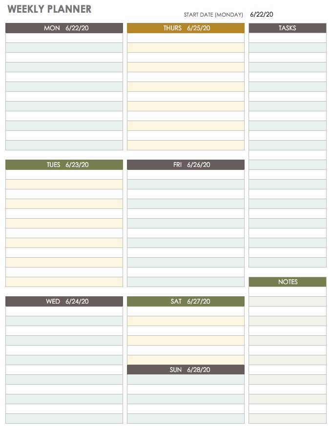 Weekly Family Planner Template New Free Printable Weekly Planner Template Word Pdf Excel