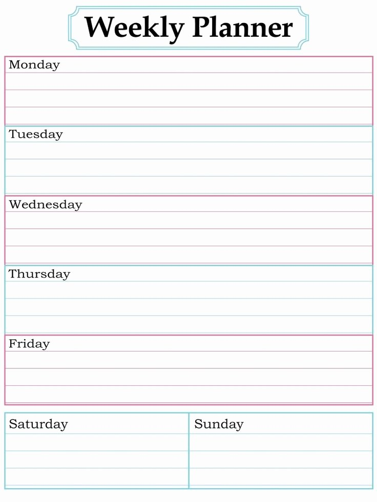 Weekly Family Planner Template Unique Best 25 Weekly Calendar Template Ideas On Pinterest