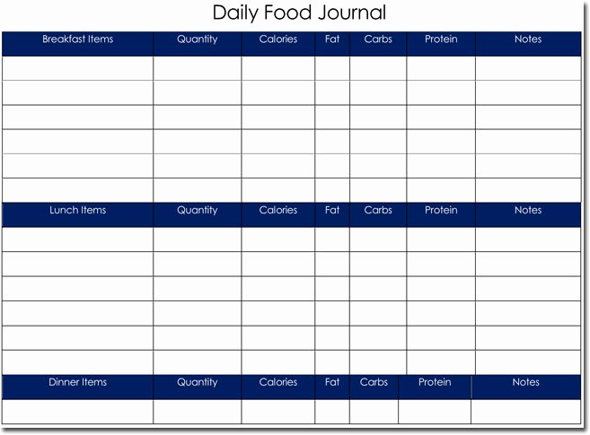 Weekly Food Diary Template Fresh Food Diary Log Journal Templates