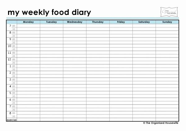 Weekly Food Diary Template Fresh Free Printable Weekly Food Diary