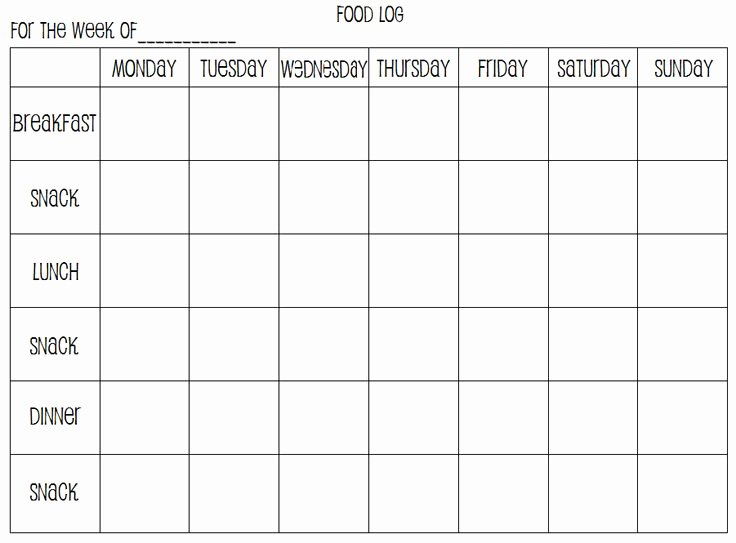 Weekly Food Diary Template Inspirational Weekly Food Diary Template Printable Weekly Food Log