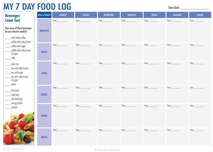 Weekly Food Diary Template Unique 7 Best Of Printable 7 Day Food Journal Printable