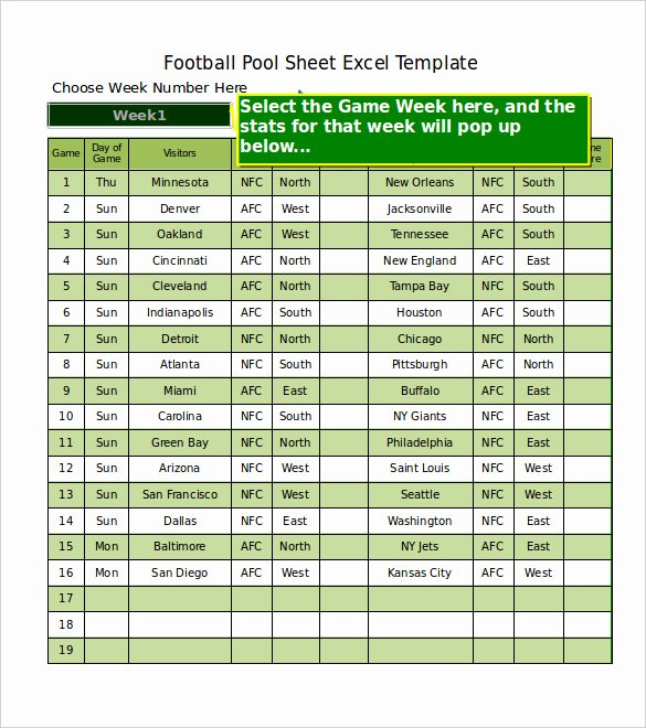 Weekly Football Pool Excel Spreadsheet Lovely 19 Football Pool Templates Word Excel Pdf