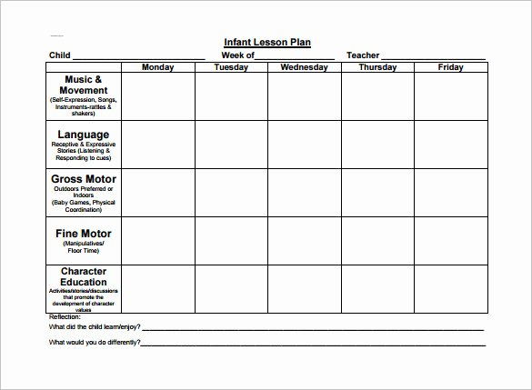 Weekly Lesson Plans for Infants Awesome toddler Lesson Plan Template 9 Free Pdf Word format