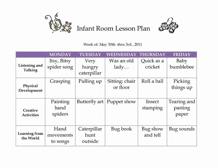 Weekly Lesson Plans for Infants Elegant Creative Curriculum