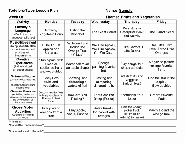 Weekly Lesson Plans for Infants Elegant Provider Sample Lesson Plan Template School