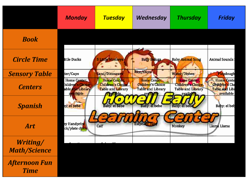 Weekly Lesson Plans for Infants Fresh Howell Early Learning Center the Perfect Place to Learn