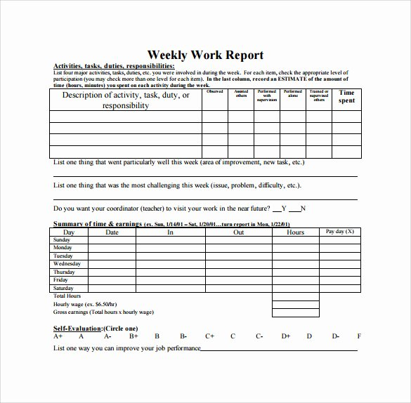 Weekly Progress Report Template Awesome Free 25 Sample Weekly Report Templates In Docs
