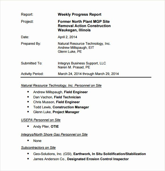 Weekly Progress Report Template Luxury Sample Weekly Progress Report Template 8 Free Documents