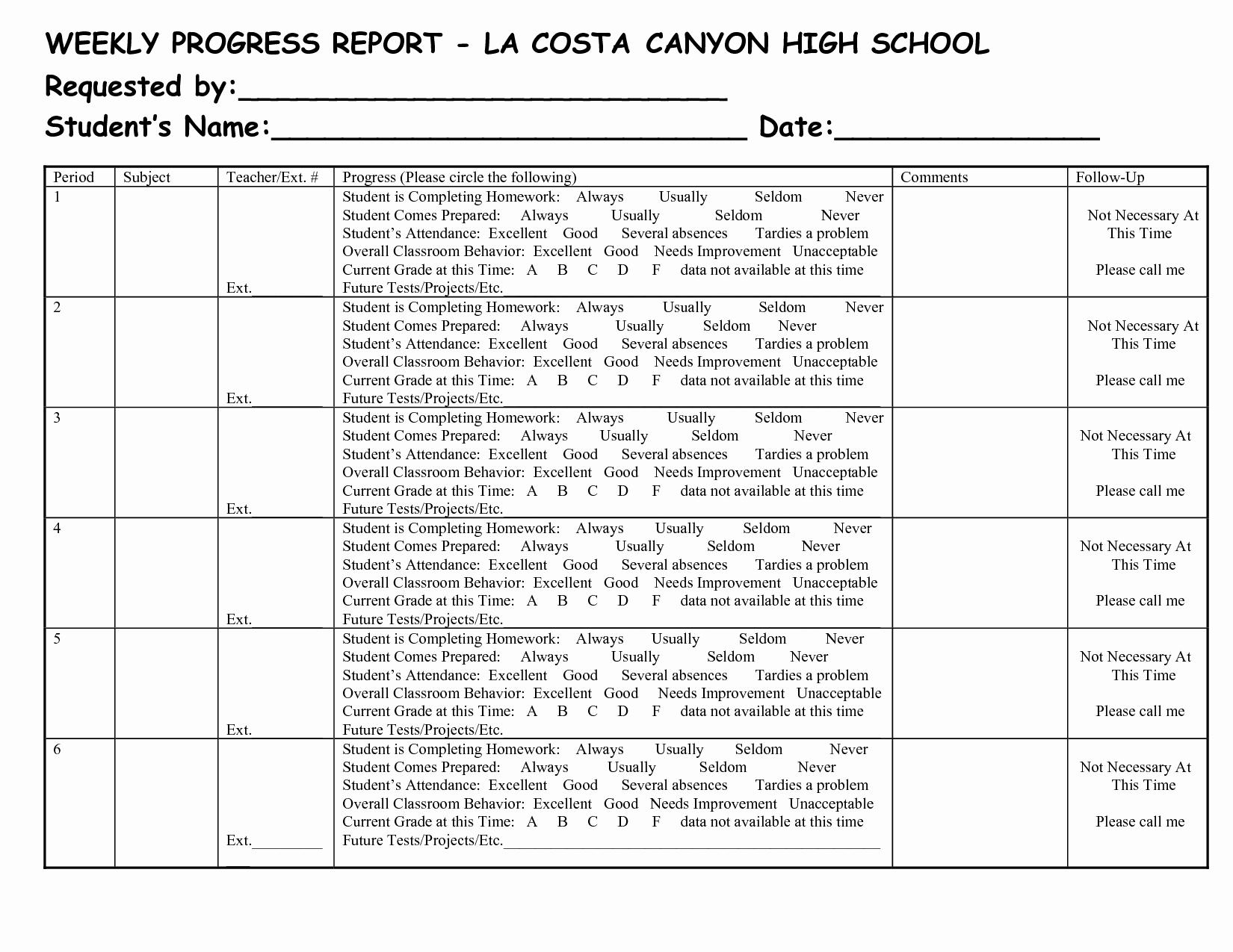 Weekly Progress Report Template New Best S Of School Progress Report Template Middle