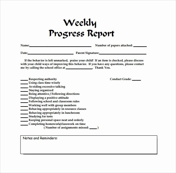 Weekly Progress Report Template New Free 25 Sample Weekly Report Templates In Docs