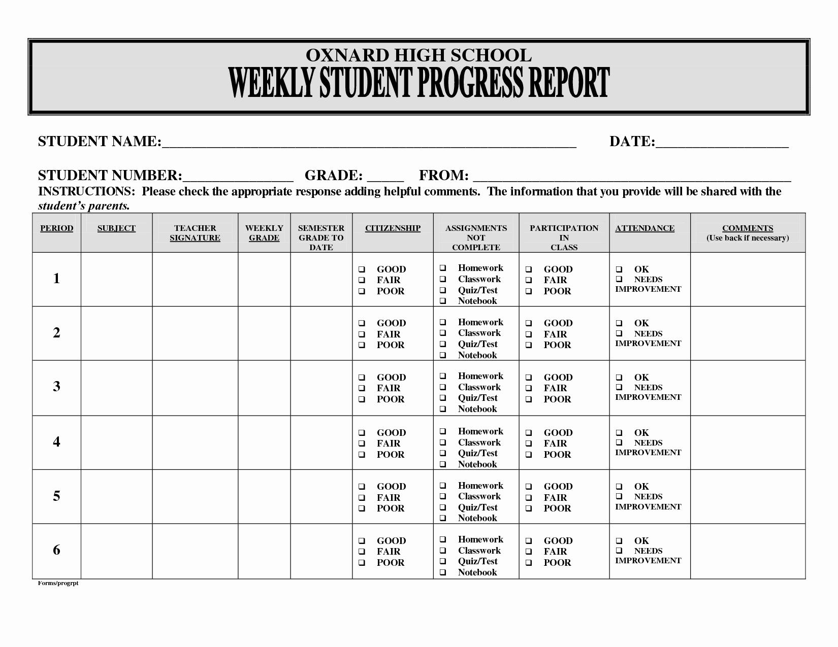 Weekly Progress Report Template Unique Best S Of Weekly Progress Report Sample School