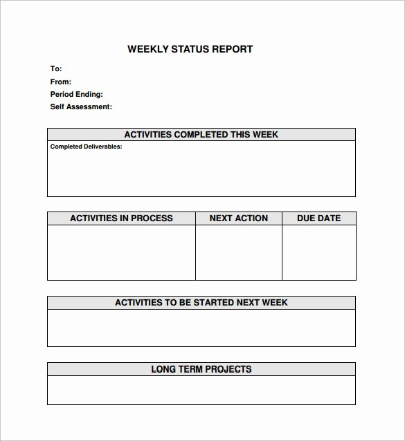 Weekly Progress Report Templates Best Of Free 16 Sample Weekly Status Report Templates In Pdf
