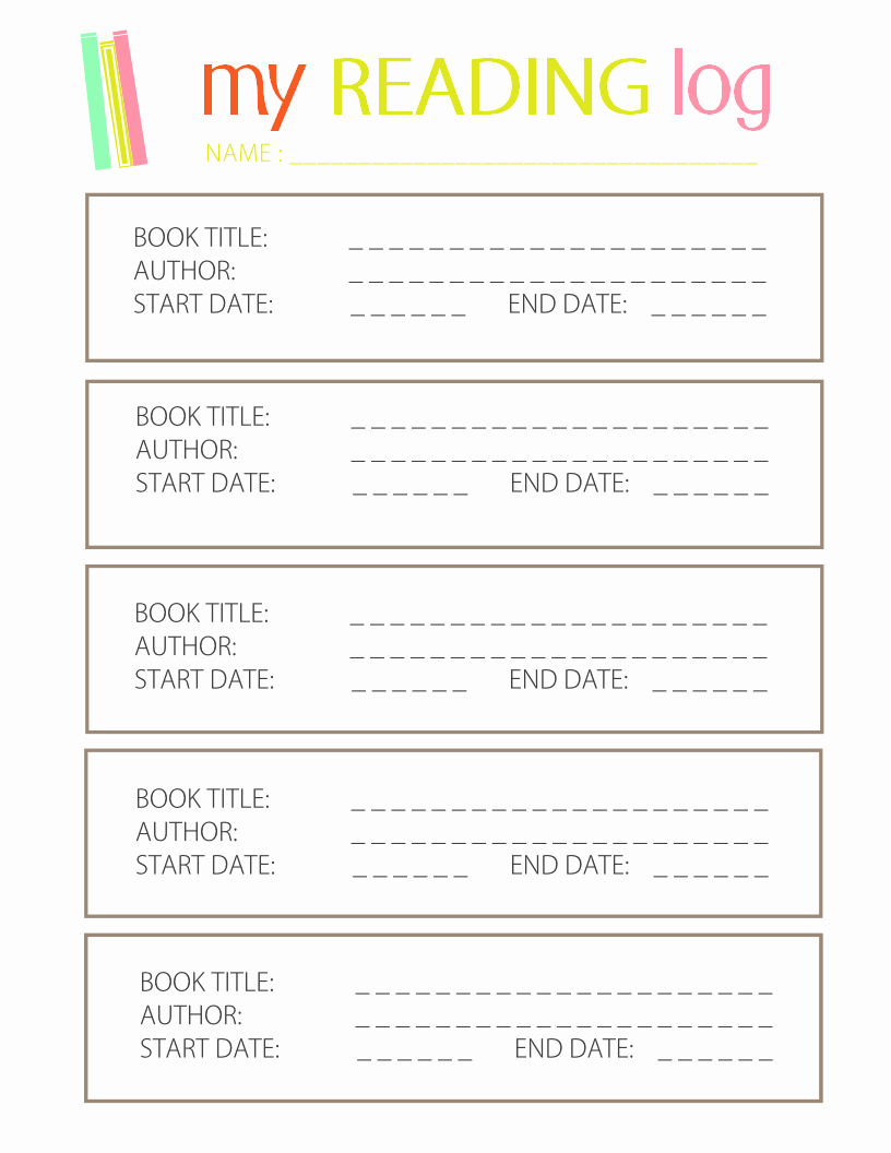 Weekly Reading Log Template Fresh Printable Reading Log for Elementary Kids
