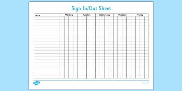 Weekly Sign In Sheet Elegant Sign In and Out Sheet Sign In Sign Out Sign Sheet Record