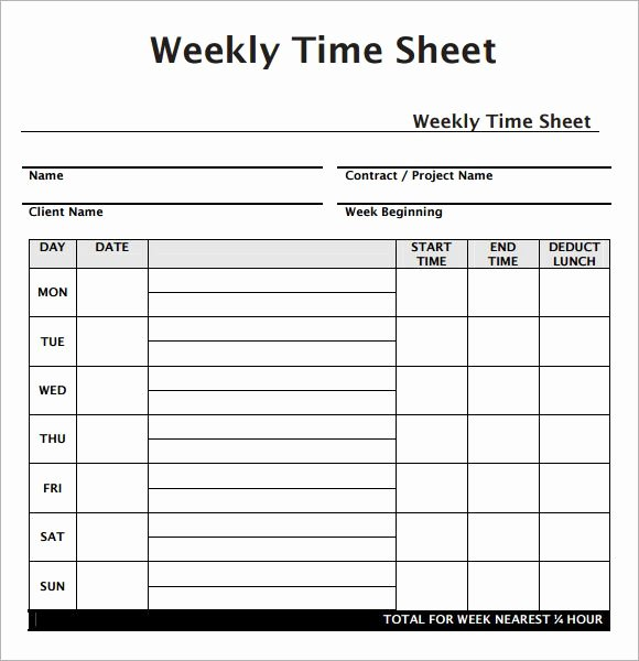 Weekly Sign In Sheet Inspirational Weekly Employee Timesheet Template Work