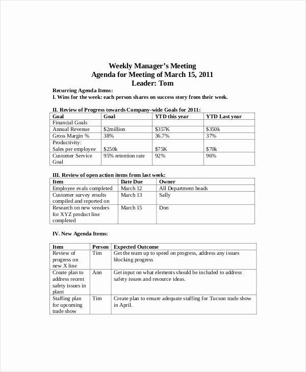 Weekly Staff Meeting Agenda Beautiful 12 Weekly Meeting Agenda Templates – Free Sample Example