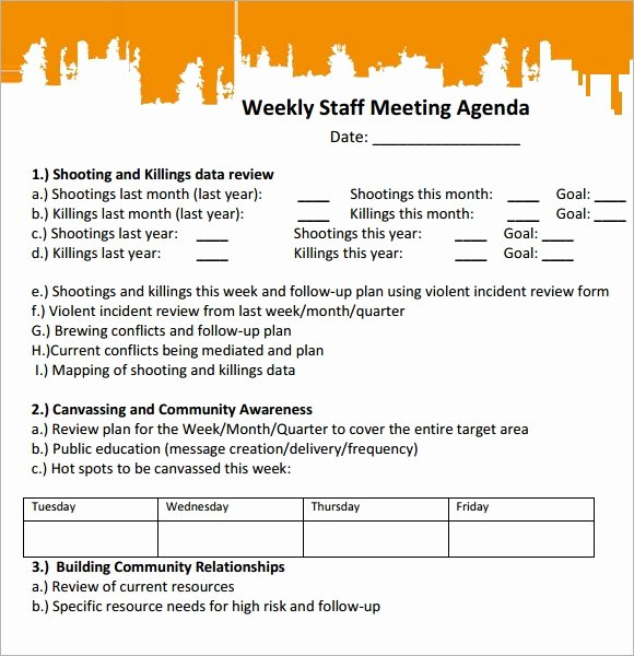 Weekly Staff Meeting Agenda Best Of Sample Staff Meeting Agenda 4 Documents for Pdf