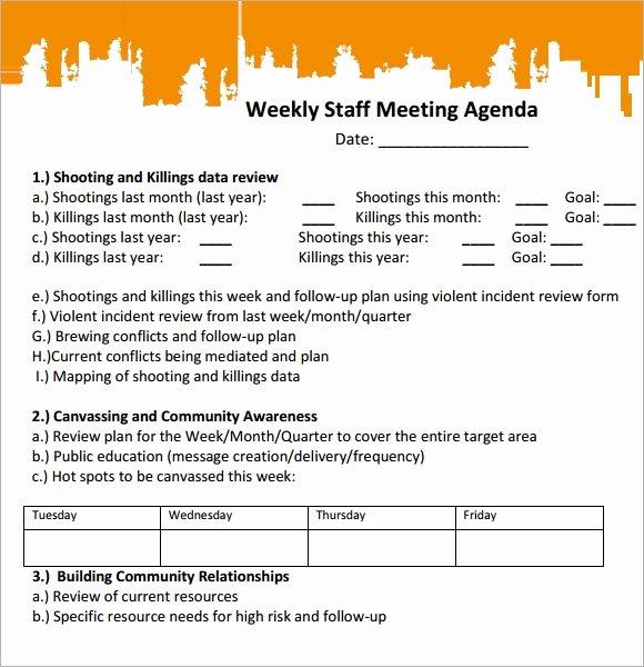 Weekly Staff Meeting Agenda Best Of Sample Staff Meeting Agenda 4 Documents for Pdf
