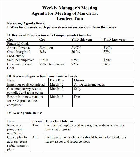 Weekly Staff Meeting Agenda Elegant Weekly Agenda Sample 9 Documents Pdf Word
