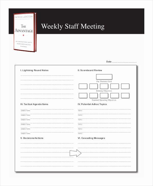 Weekly Staff Meeting Agenda Luxury Free 57 Meeting Agenda Examples & Samples In Doc