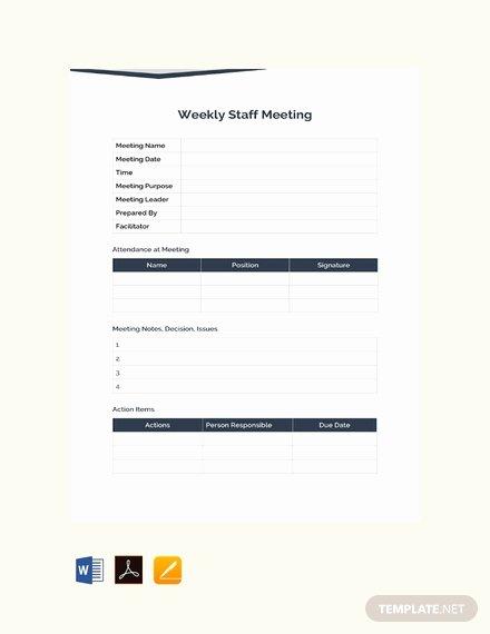 Weekly Staff Meeting Agenda New Free Staff Meeting Agenda Template Download 88 Meeting