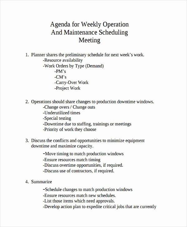 Weekly Staff Meeting Agenda Unique 33 Printable Agenda Examples & Samples