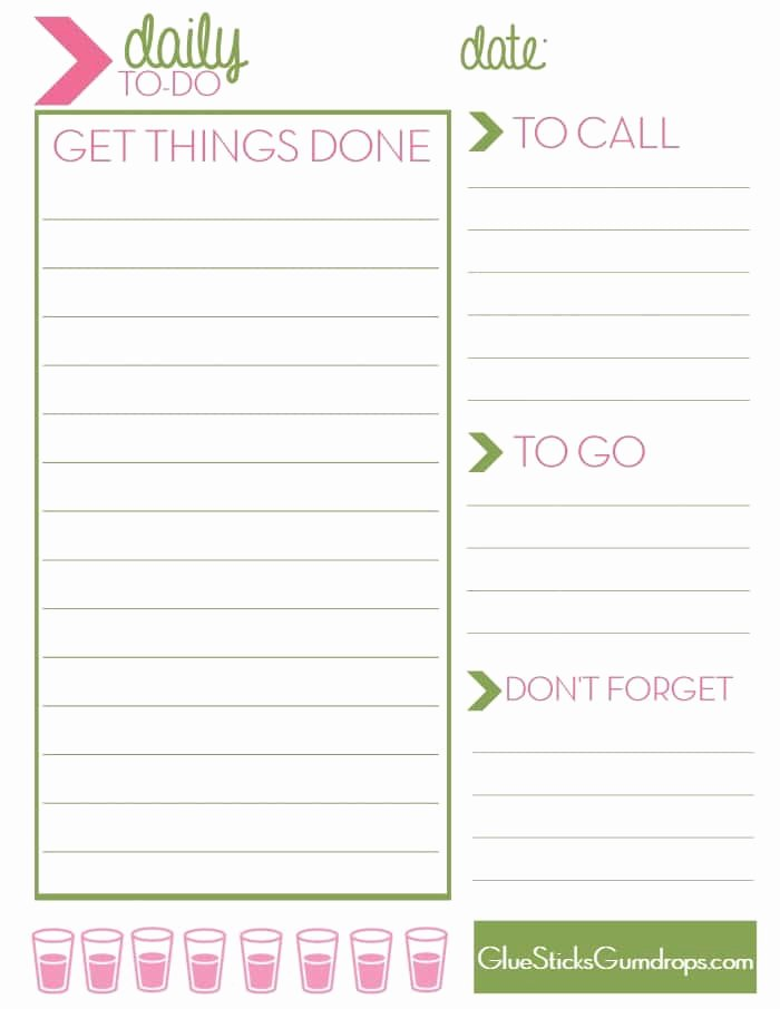 Weekly to Do List Printable Lovely Free Printable Daily to Do List Glue Sticks and Gumdrops
