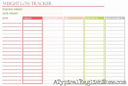 Weekly Weight Loss Tracker Fresh 16 Week Weight Loss Tracker Printable Moninter
