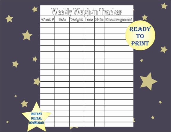 Weekly Weight Loss Tracker New Items Similar to Weekly Weigh In Tracker Single Printable
