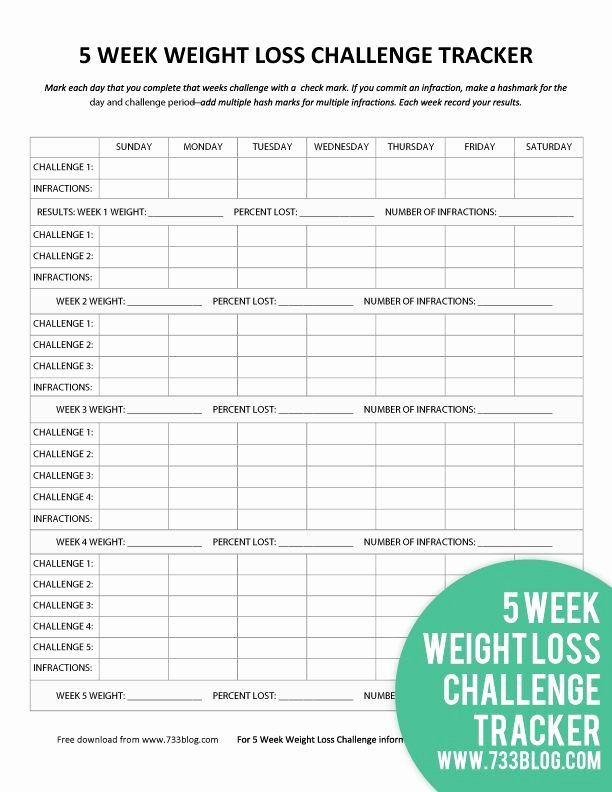 Weekly Weight Loss Tracker Unique 5 Week Weight Loss Challenge Printable Tracker