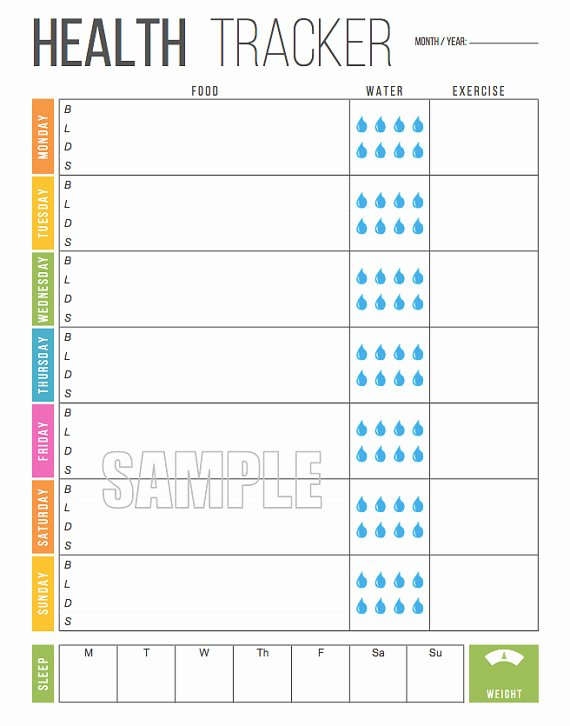 Weekly Weight Loss Tracker Unique Weekly Health Tracker Printable Food Tracker Sleep