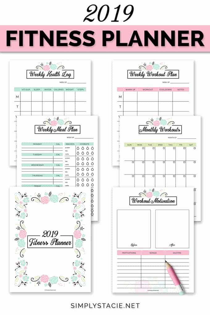 Weekly Workout Planner Template Awesome 2019 Fitness Planner Free Printable Simply Stacie